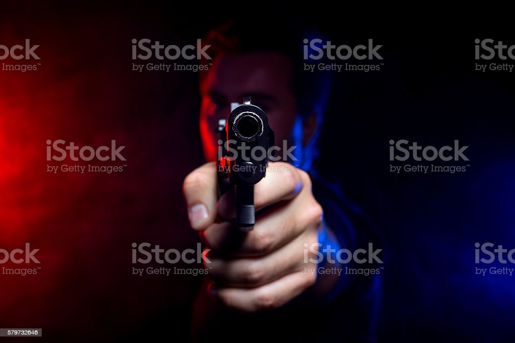 Smoky Police Shootout stock photo