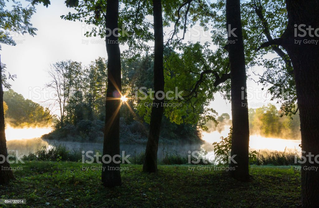 Smoky pond in the morning with sunbeams stock photo
