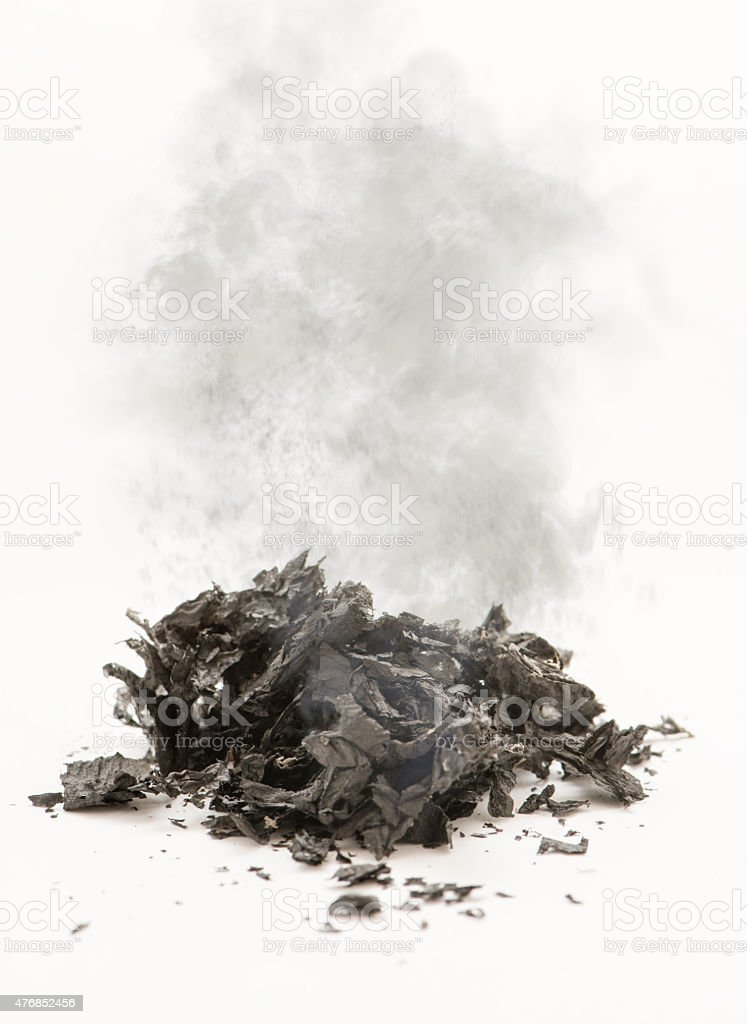 Smoldering ashes stock photo