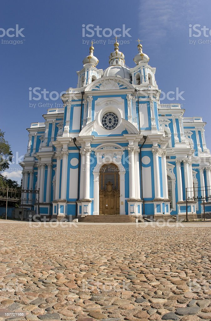 Smolny Cathedral in St Petersburg, Russia, Wide Angle, Place-of-Worship royalty-free stock photo