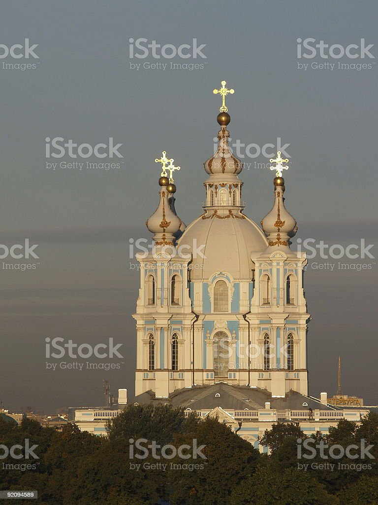 Smolny Cathedral in Sunrise, St. Petersburg, Russia royalty-free stock photo