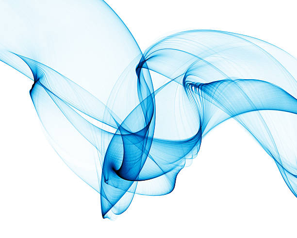 smooth abstract blue smoke-like curves stock photo