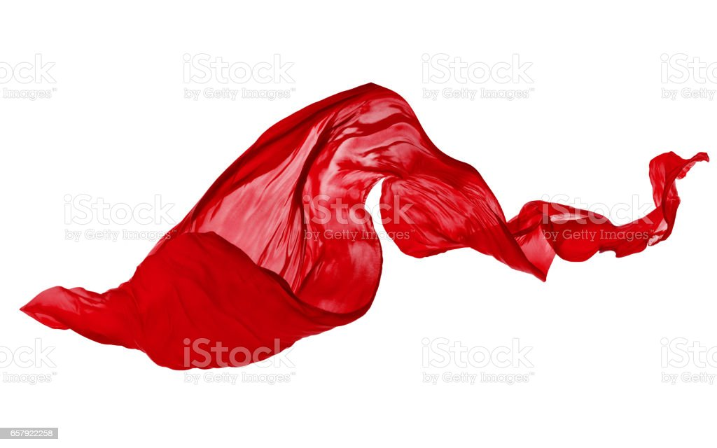 Smooth elegant red cloth on white background stock photo