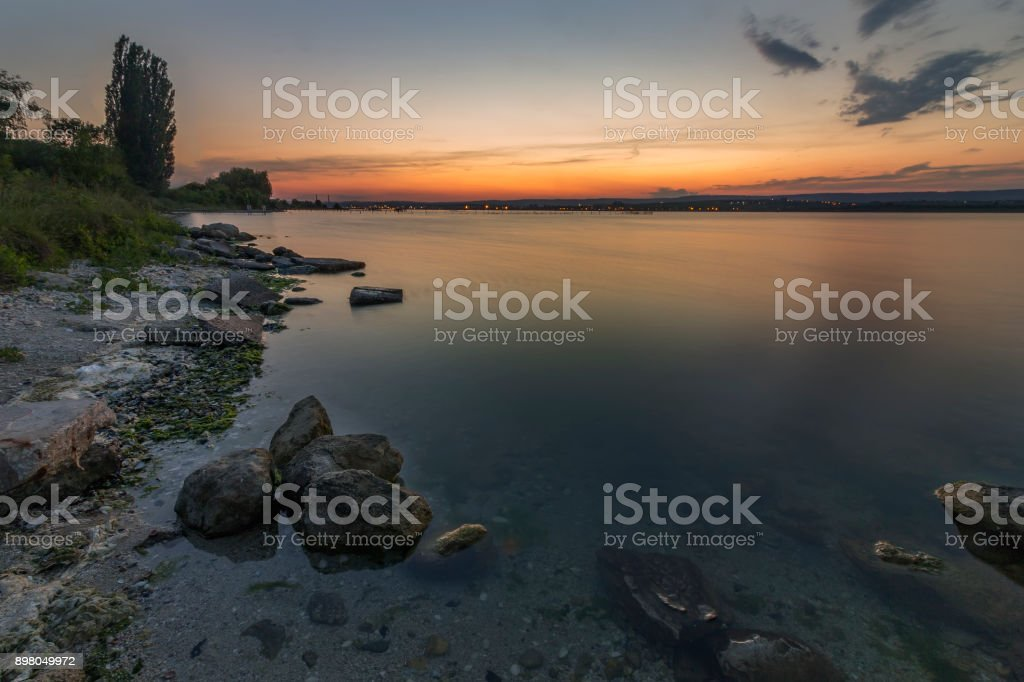 Smooth long exposure of waves stock photo