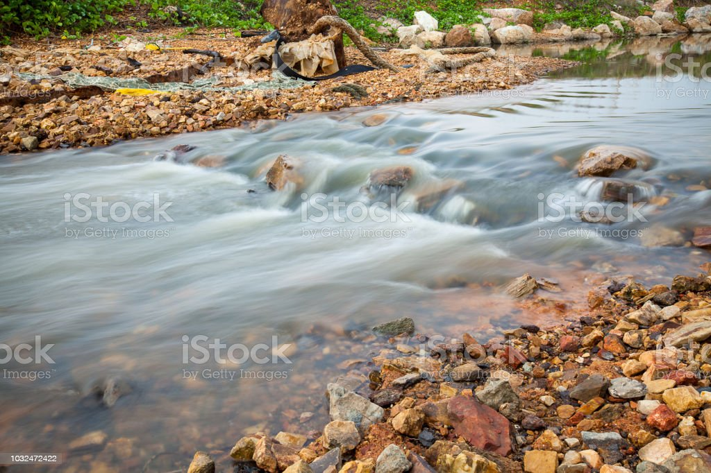 smooth motion blur of water in waterfall. silky smooth water flow....