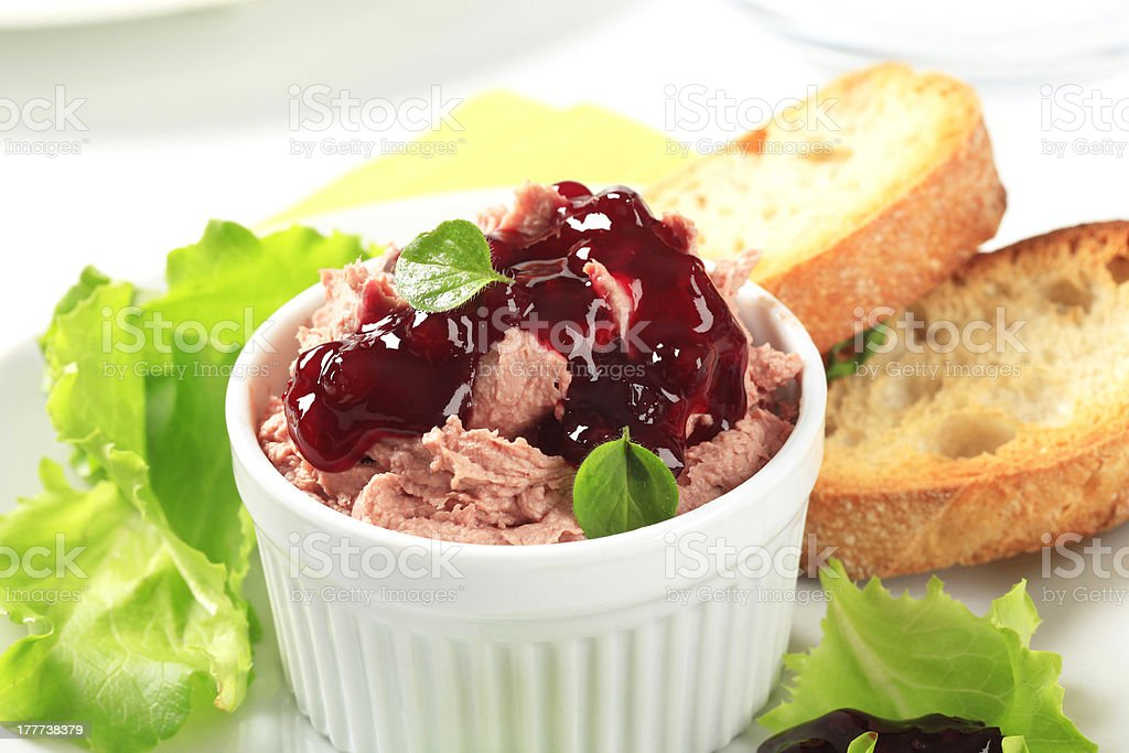 Smooth pate with cranberry sauce royalty-free stock photo