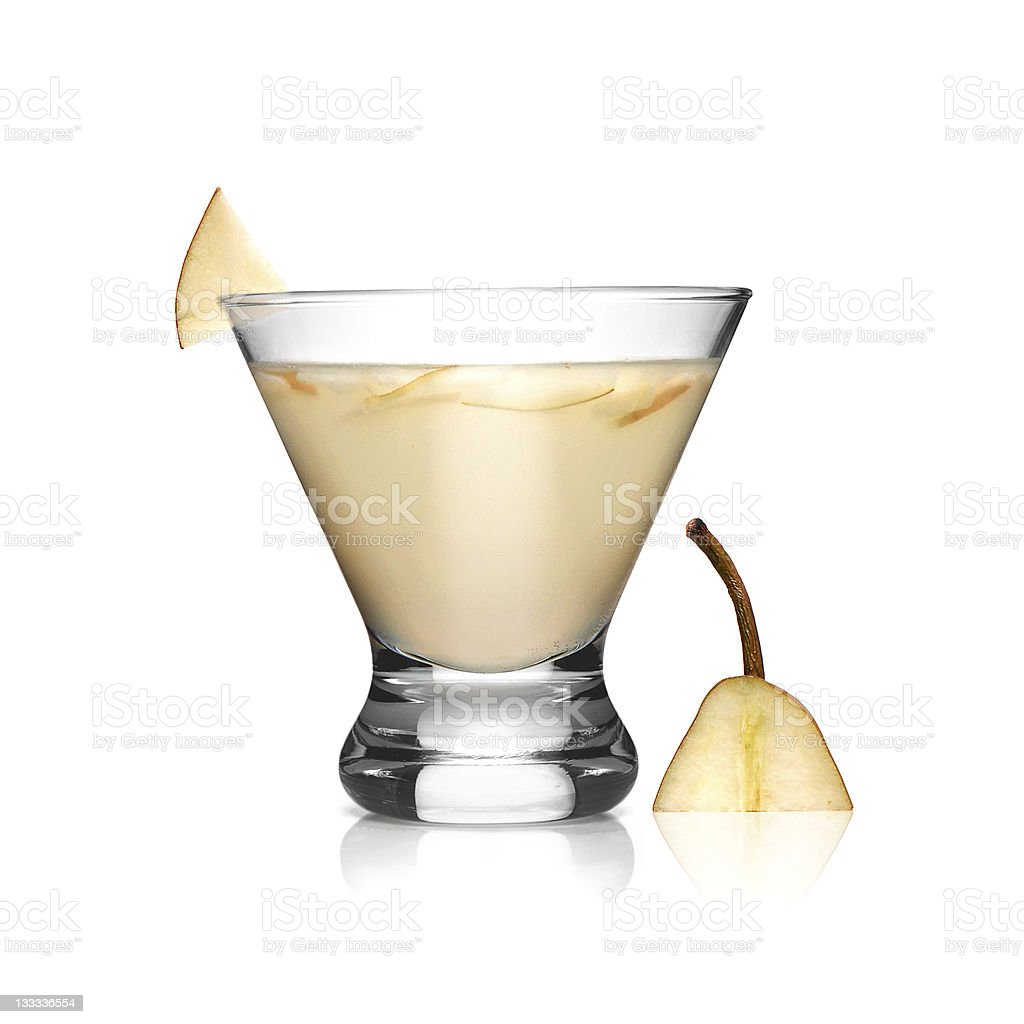 Smooth Pear Cocktail on White Smooth Pear Cocktail Isolated on White Alcohol - Drink Stock Photo