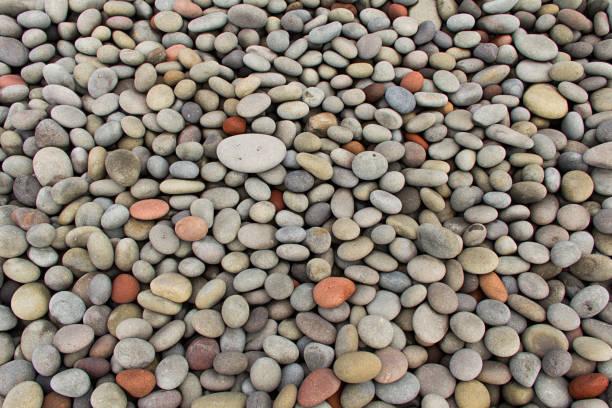 Smooth pebble beach, New Zealand stock photo