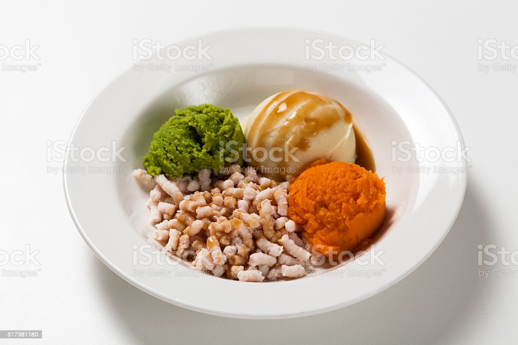 Smooth pure meal, hospital food. stock photo
