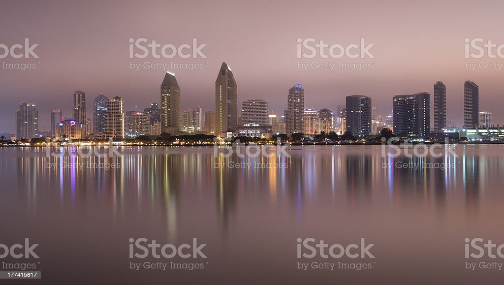 Smooth Reflections of San Diego Midnight Shot From Coronado California royalty-free stock photo