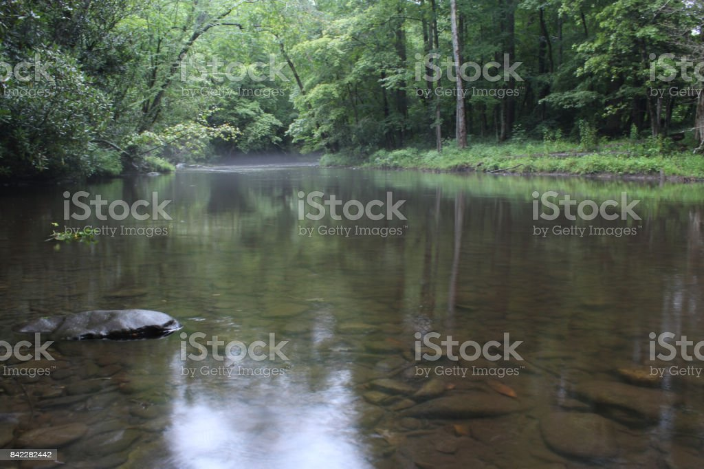 Smooth River in the American Forest Woods stock photo