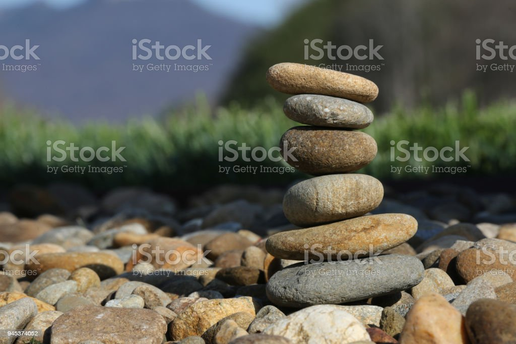 Smooth rocks stacked up stock photo