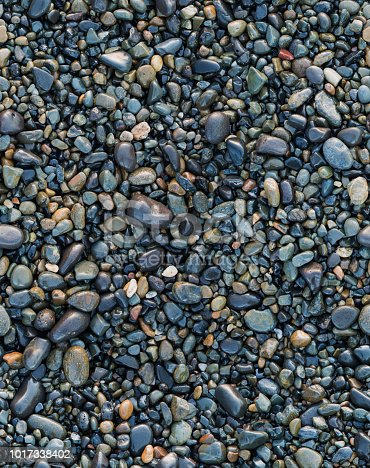 A full frame texture of large wet stones and small pebbles that tiles seamlessly.