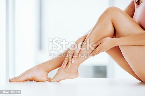 Low angle shot of a young woman's bare legs