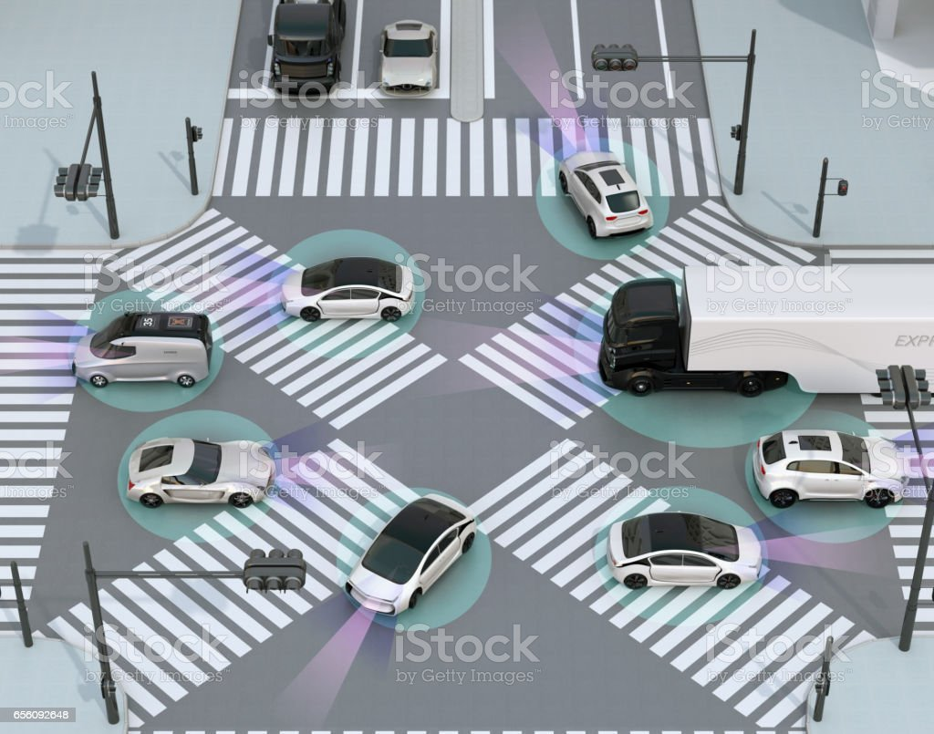 Smooth traffic in crossroad stock photo