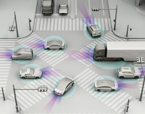 smooth traffic in crossroad - self driving car stock photos and pictures
