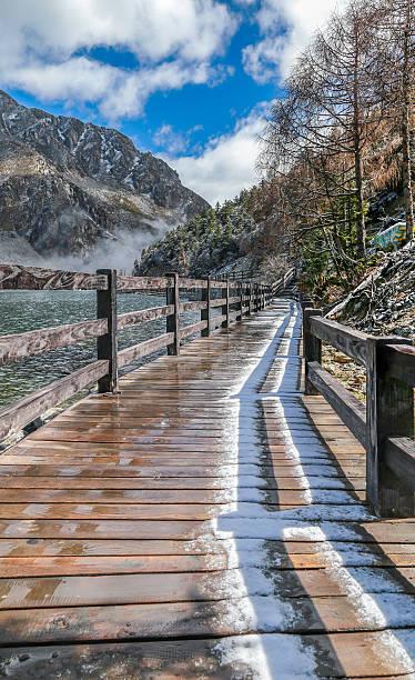 wooden bridge near smooth water of mugecuo lakes - ganzi tibet özerk bölgesi stok fotoğraflar ve resimler