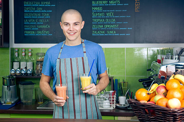 Smoothie bar owner or bartender stock photo