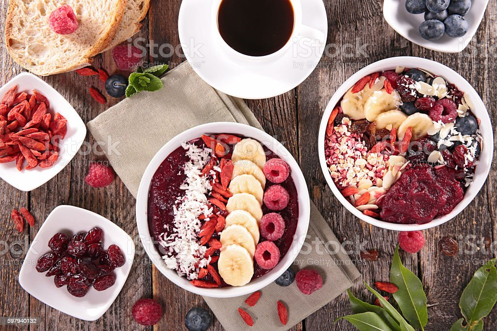 smoothie bowl for breakfast stock photo