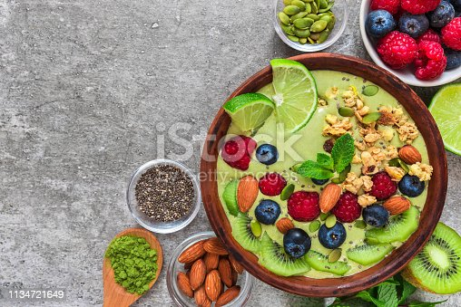 istock Smoothie bowl made of matcha green tea with fresh fruits, berries, nuts, seeds with a spoon for healthy diet breakfast 1134721649