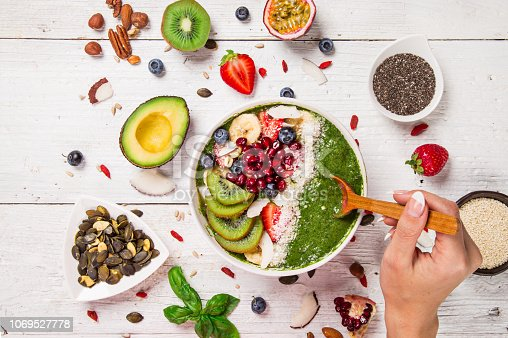 857575080istockphoto Smoothie bowl with fresh berries, nuts, seeds, fruit and vegetables. 1069527778