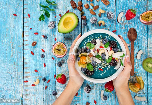 857575080 istock photo Smoothie bowl with fresh berries, nuts, seeds, fruit and vegetables 857575080