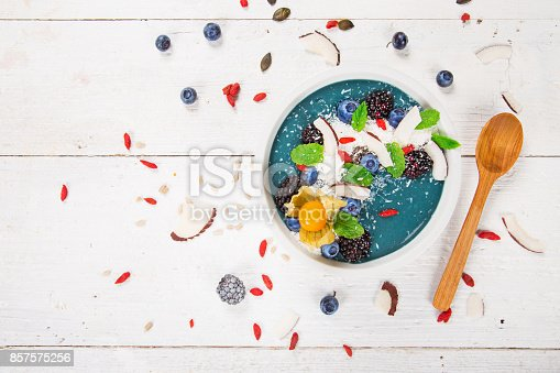 857575080 istock photo Smoothie bowl with fresh berries, nuts, seeds, fruit and vegetables 857575256