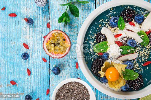 857575080 istock photo Smoothie bowl with fresh berries, nuts, seeds, fruit and vegetables 857575346