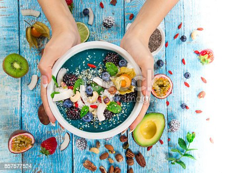 857575080 istock photo Smoothie bowl with fresh berries, nuts, seeds, fruit and vegetables 857577524