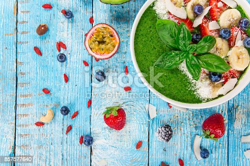 857575080 istock photo Smoothie bowl with fresh berries, nuts, seeds, fruit and vegetables 857577640