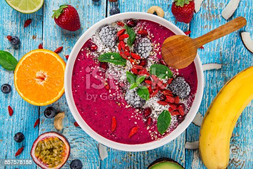 857575080 istock photo Smoothie bowl with fresh berries, nuts, seeds, fruit and vegetables 857578188