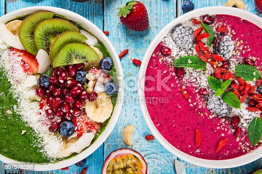 857575080 istock photo Smoothie bowl with fresh berries, nuts, seeds, fruit and vegetables 857578288