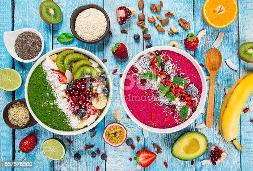 857575080istockphoto Smoothie bowl with fresh berries, nuts, seeds, fruit and vegetables 857578360