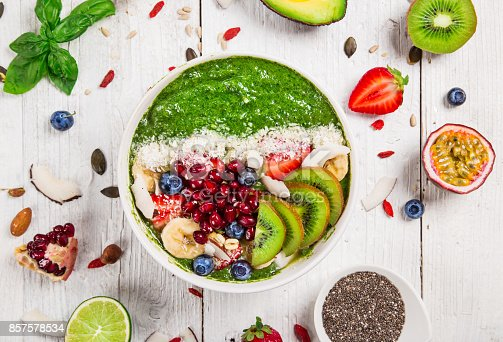 857575080istockphoto Smoothie bowl with fresh berries, nuts, seeds, fruit and vegetables 857578534
