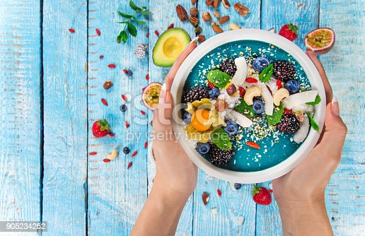 857575080 istock photo Smoothie bowl with fresh berries, nuts, seeds, fruit and vegetables 905234252