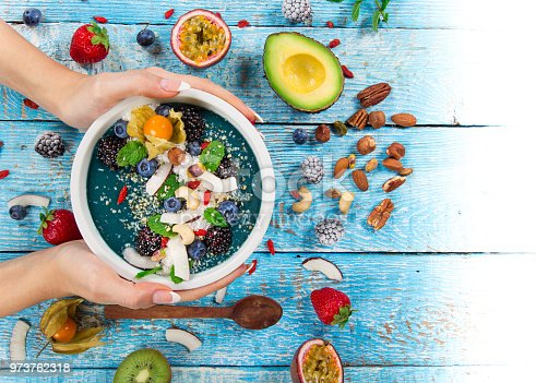 857575080istockphoto Smoothie bowl with fresh berries, nuts, seeds, fruit and vegetables 973762318