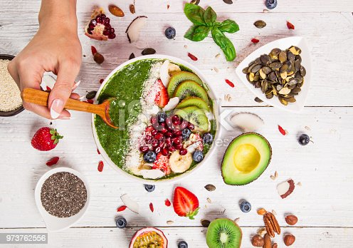 857575080istockphoto Smoothie bowl with fresh berries, nuts, seeds, fruit and vegetables 973762556
