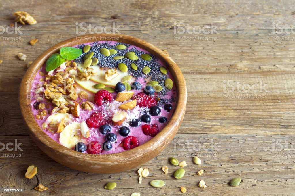 Smoothie bowl with fresh berries stock photo