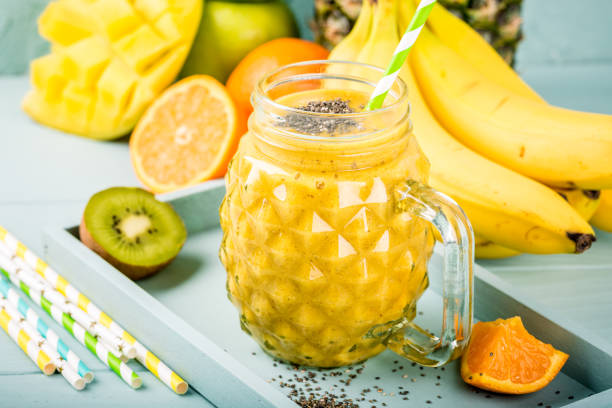 smoothie juice with chia seeds stock photo