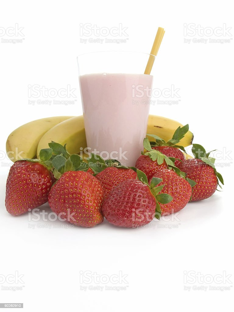 Smoothie made with strawberries and bananas stock photo