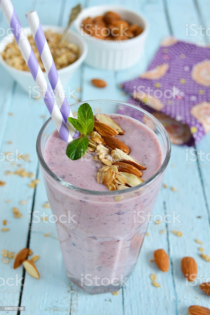 smoothie with blueberries and almonds in a glass royalty-free stock photo