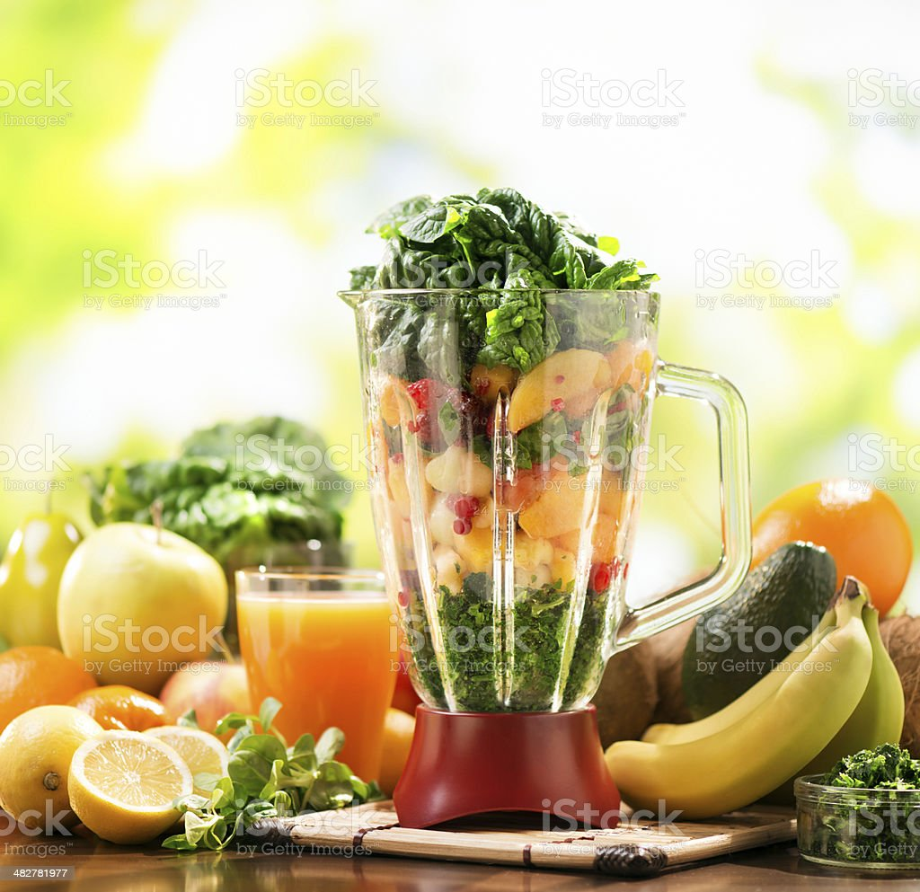 Smoothie with fresh fruits and vegetables stock photo