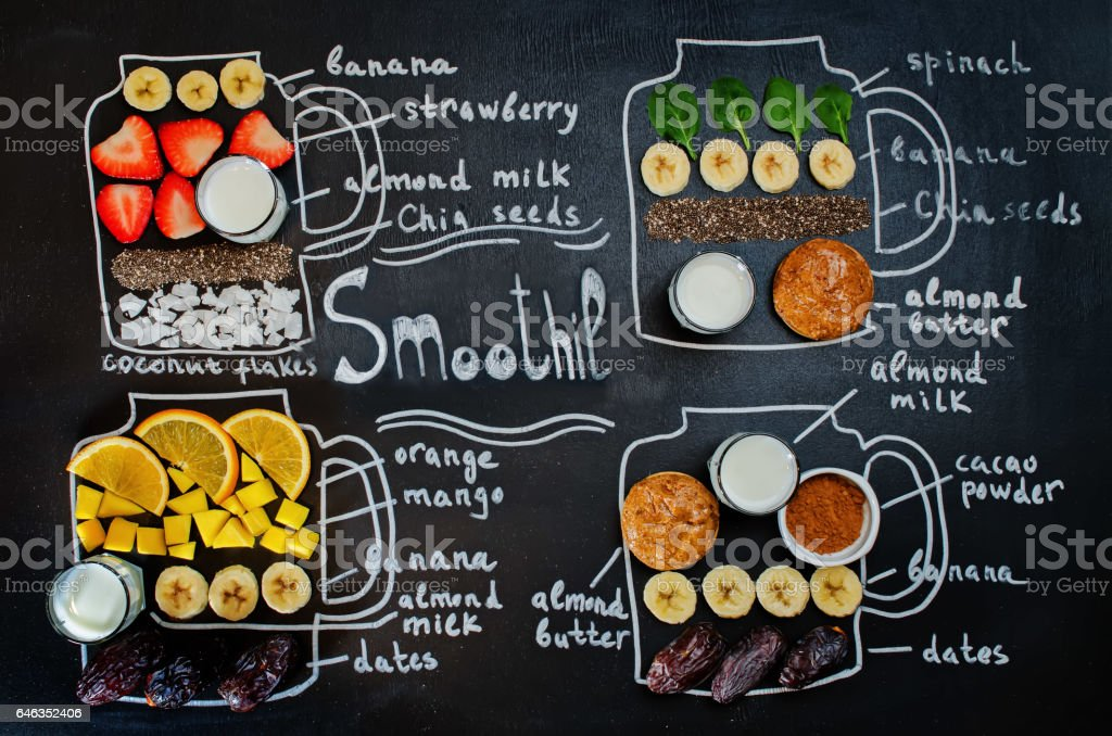 smoothie words and smoothies ingredients stock photo