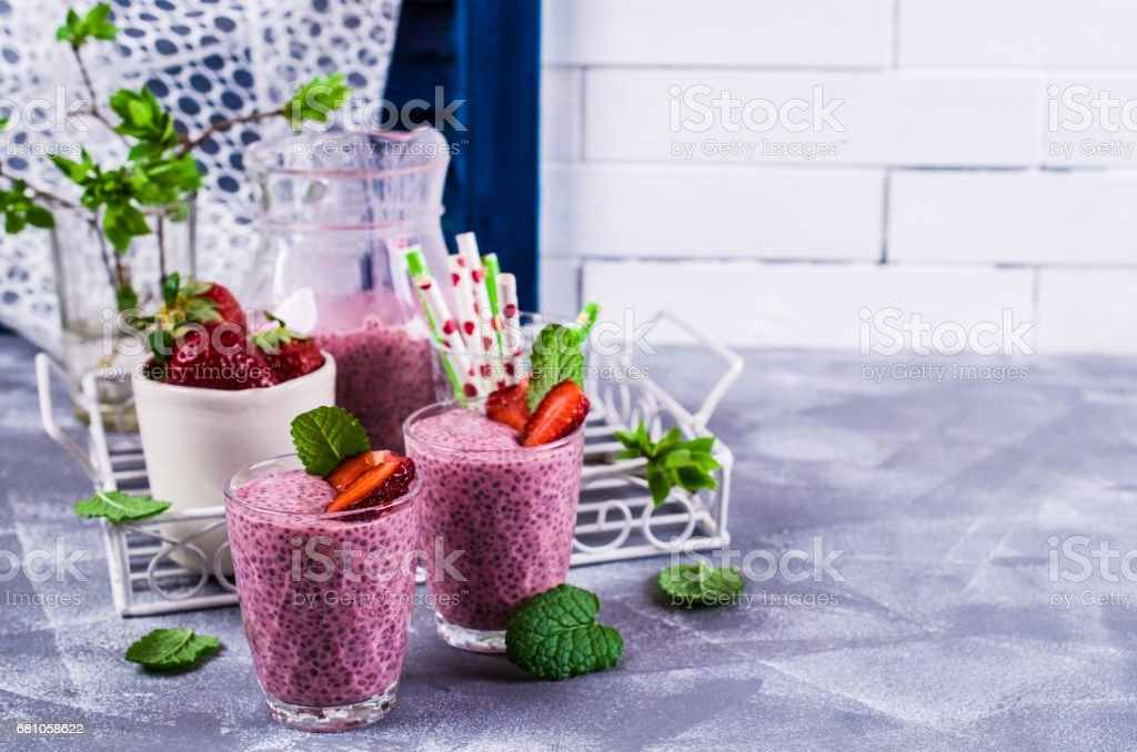 Smoothies with chia seeds royalty-free stock photo
