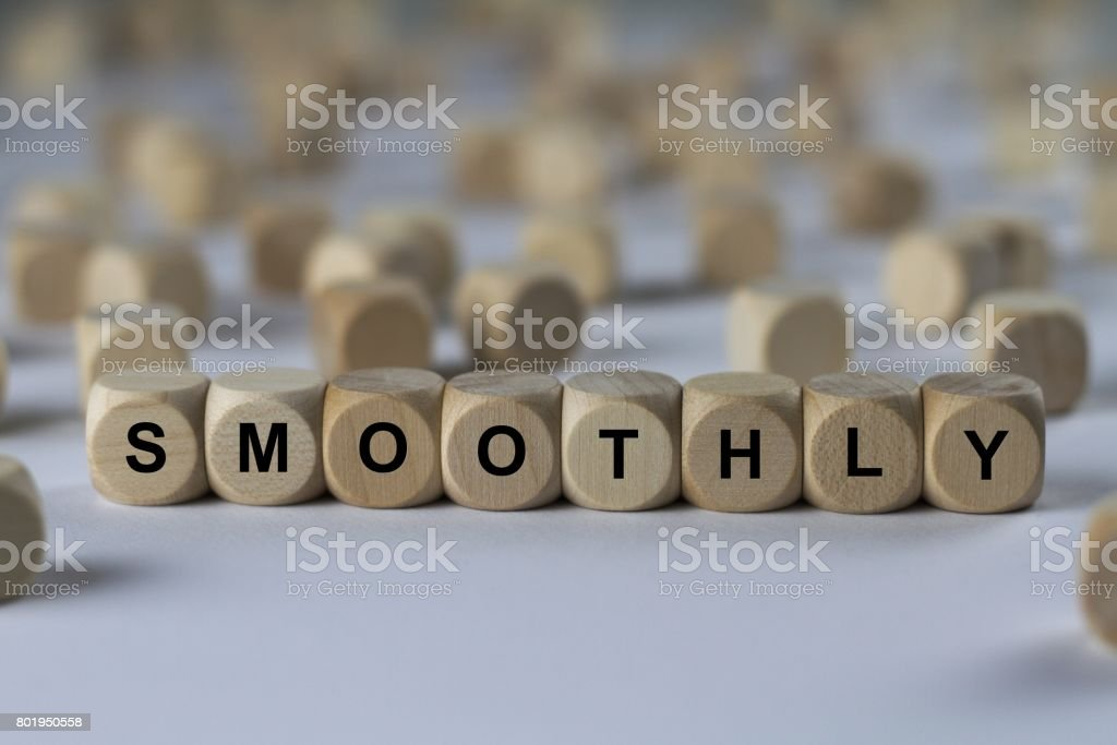 smoothly - cube with letters, sign with wooden cubes stock photo