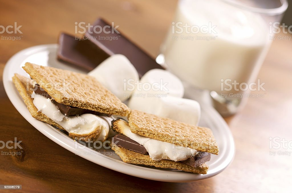 Smores and Milk royalty-free stock photo