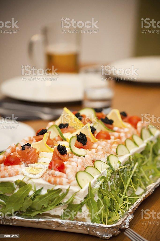 Smörgastarta, Swedish sandwich cace royalty-free stock photo
