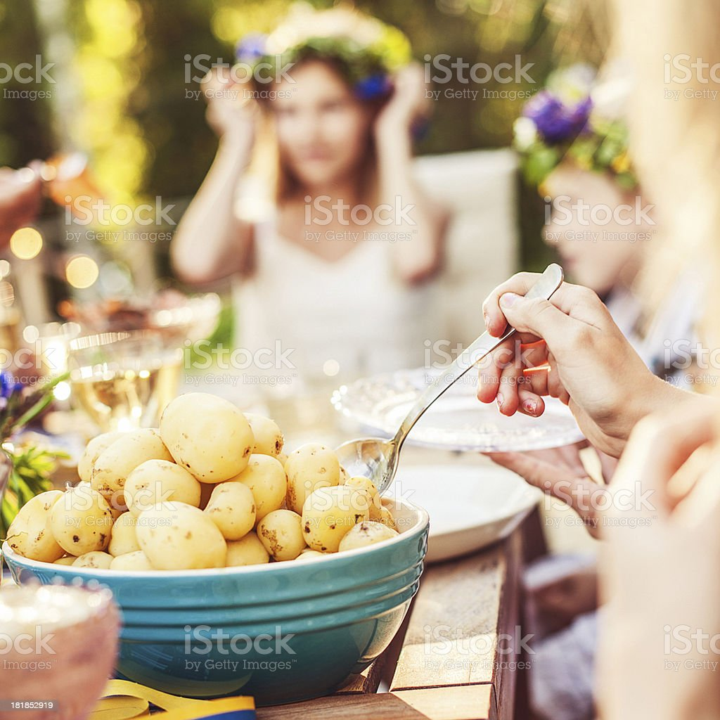 Smörgåsbord with pickled herring and new potatoes stock photo