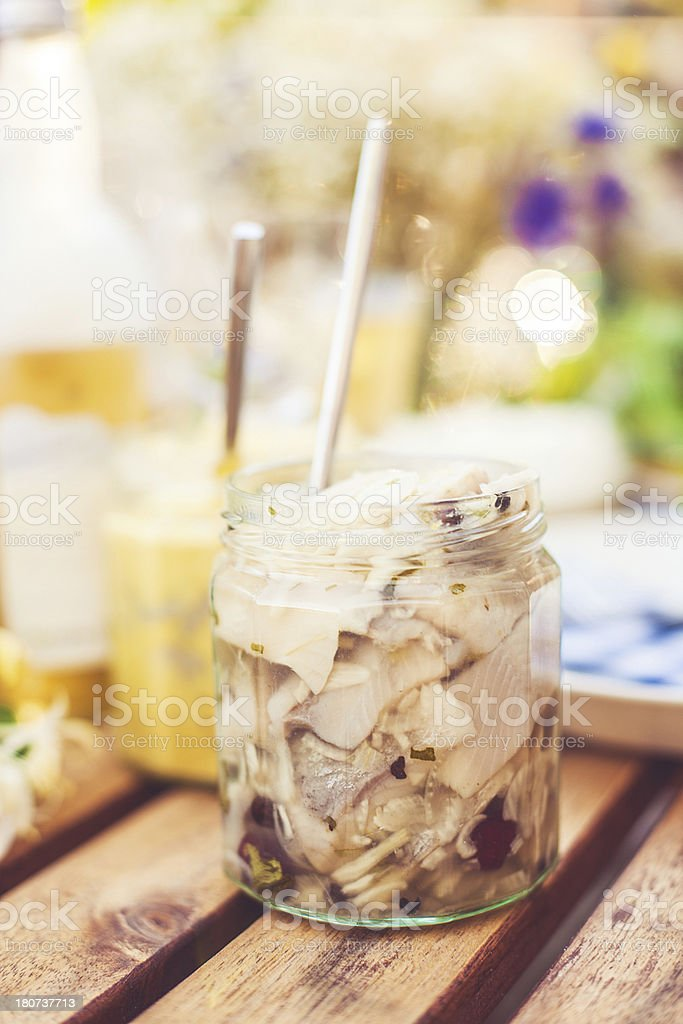 Smörgåsbord with pickled herring stock photo