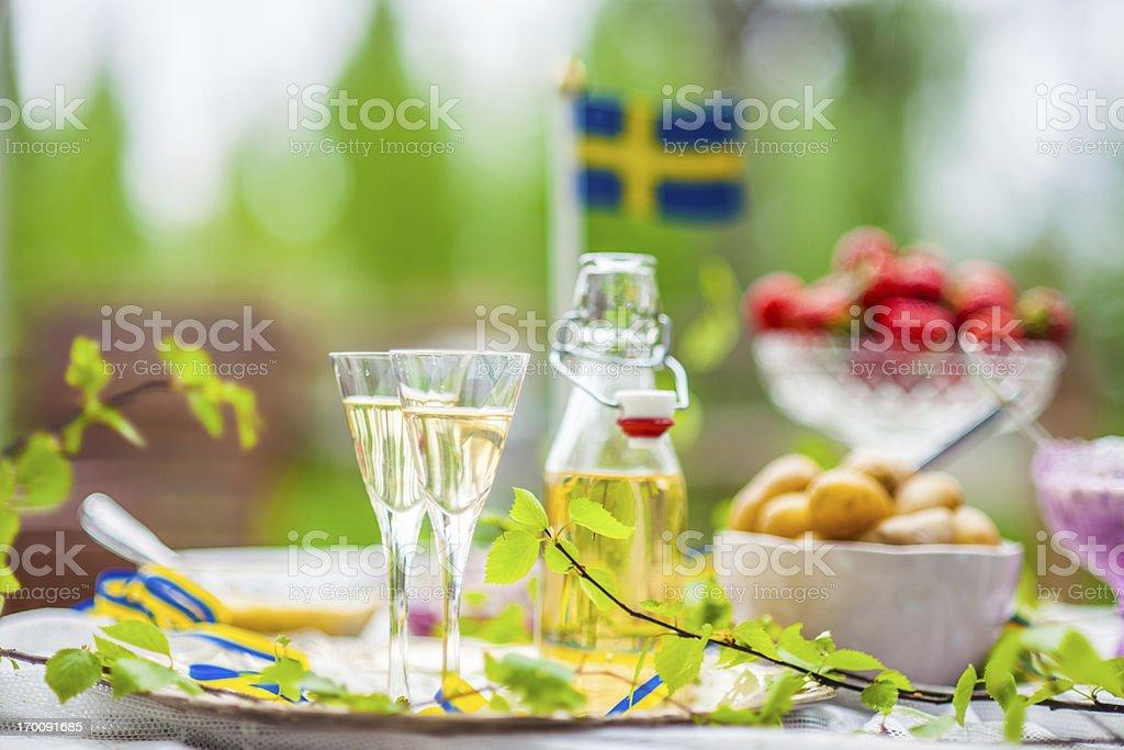 Smörgåsbord with snaps stock photo